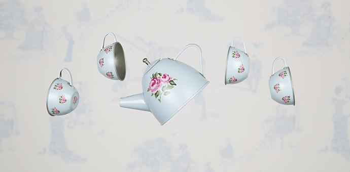Blommig servis - Blå - I köket - Barnrum - Ruthgreta.se